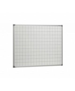 Pizarra blanca laminada con cuadrícula de 5 cm y marco de aluminio