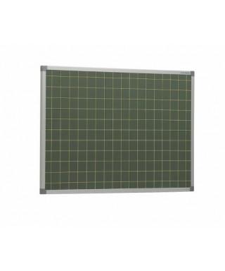 Pizarra verde acero vitrificado con cuadrícula de 5 cm y marco de aluminio