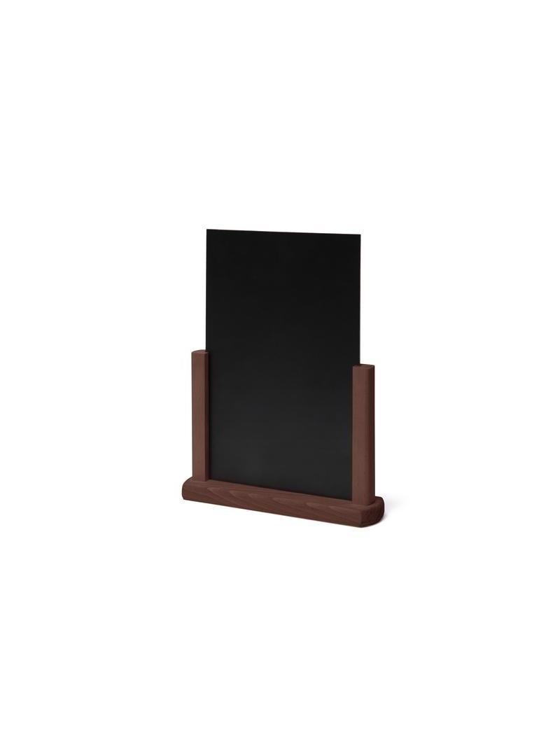 Pizarra de sobremesa para tiza de color negro y madera de color marrón oscuro