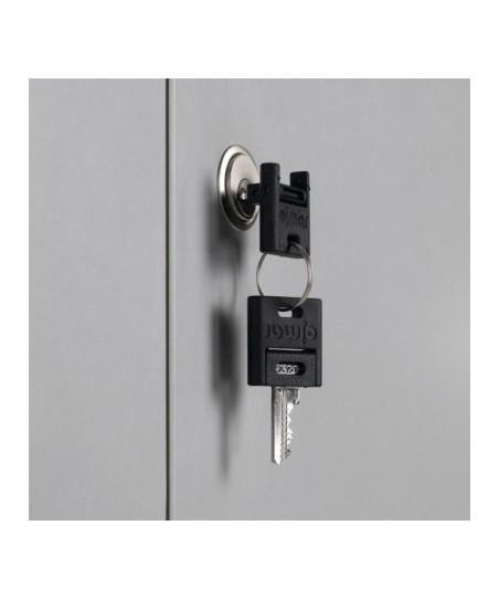 Armario móvil para pantallas planas (detalle cerradura con llaves)
