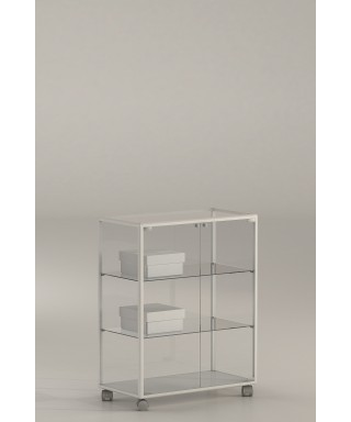 Vitrina aluminio blanco y vidrio 90x71x37 Ref. E4-V110