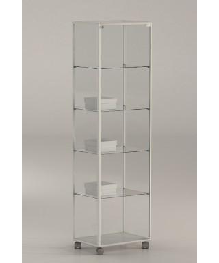 Vitrina aluminio blanco y vidrio 180x51x37 Ref. E4-V120