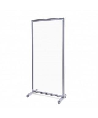 Mampara móvil de aluminio y acrílico transparente