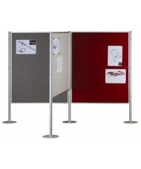 """Paneles modulares de exposición (ejemplo composición en """"T""""con 3 paneles y 4 columnas)"""