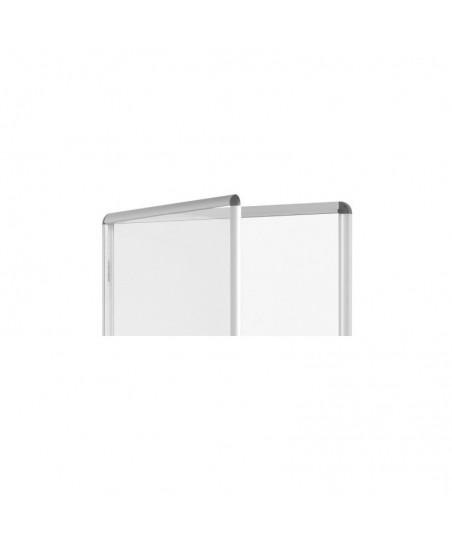 Vitrina convencional de aluminio con puerta batiente fondo de corcho