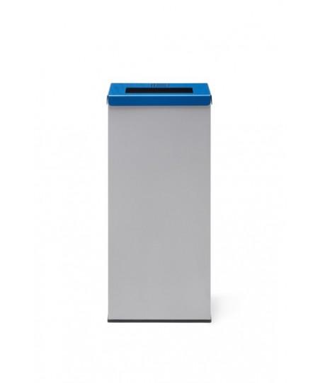 Papelera de reciclaje metálica con tapa abatible azul