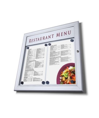 Vitrina de menú exterior con portalogo
