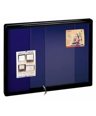 Vitrina V-2000 aluminio negro puertas correderas (fondo corcho tapizado color a escoger)