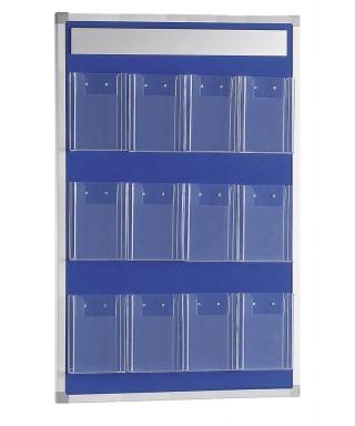Panel portafolletos mural 60x90 con 12 portafolletos 1/3 A4 (tapizado azul)